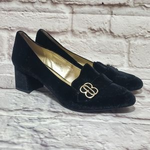 Bandolino Black & Gold Velvet Block Heel Loafers
